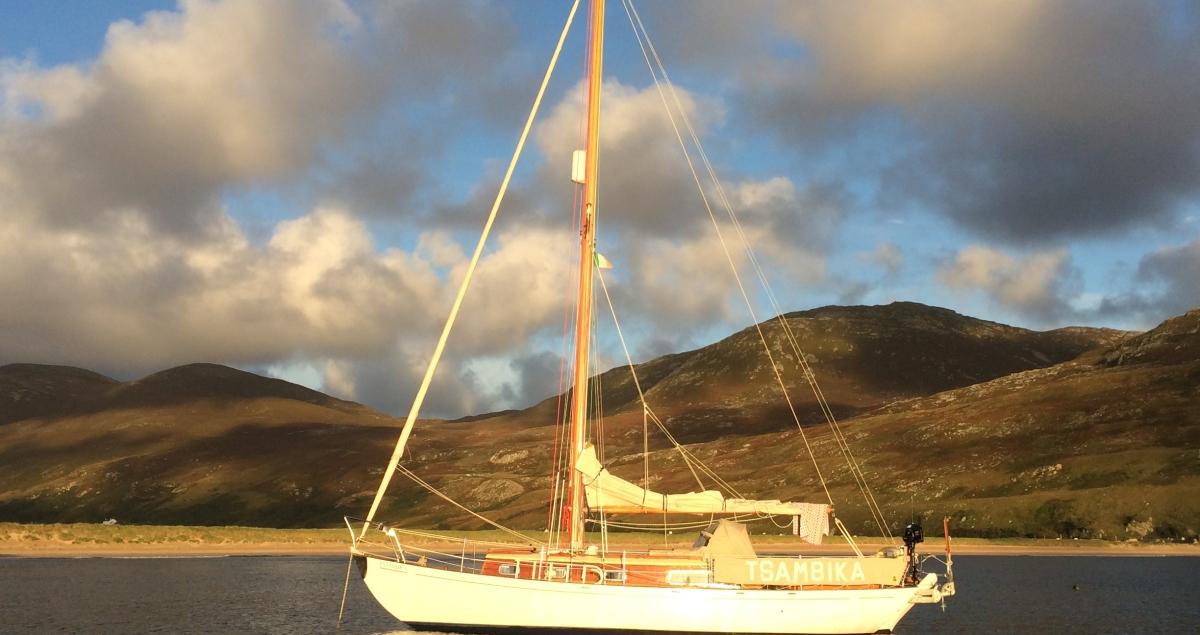 Sunlight on the wooden boat Tsambika. Photo by Philip Marsden.