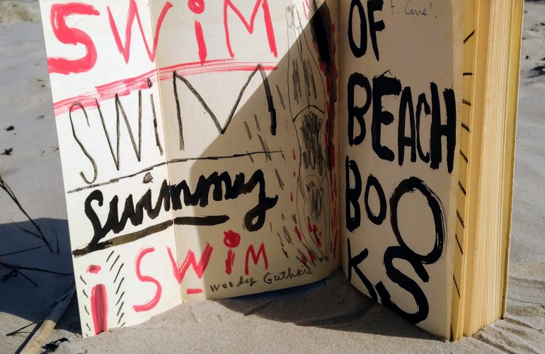 "Inside cover of ""Les Mots"" by Jean Paul Sartre, painted by Jonny Hannah. Gift to the Sea Library. Photo: Beach Books"