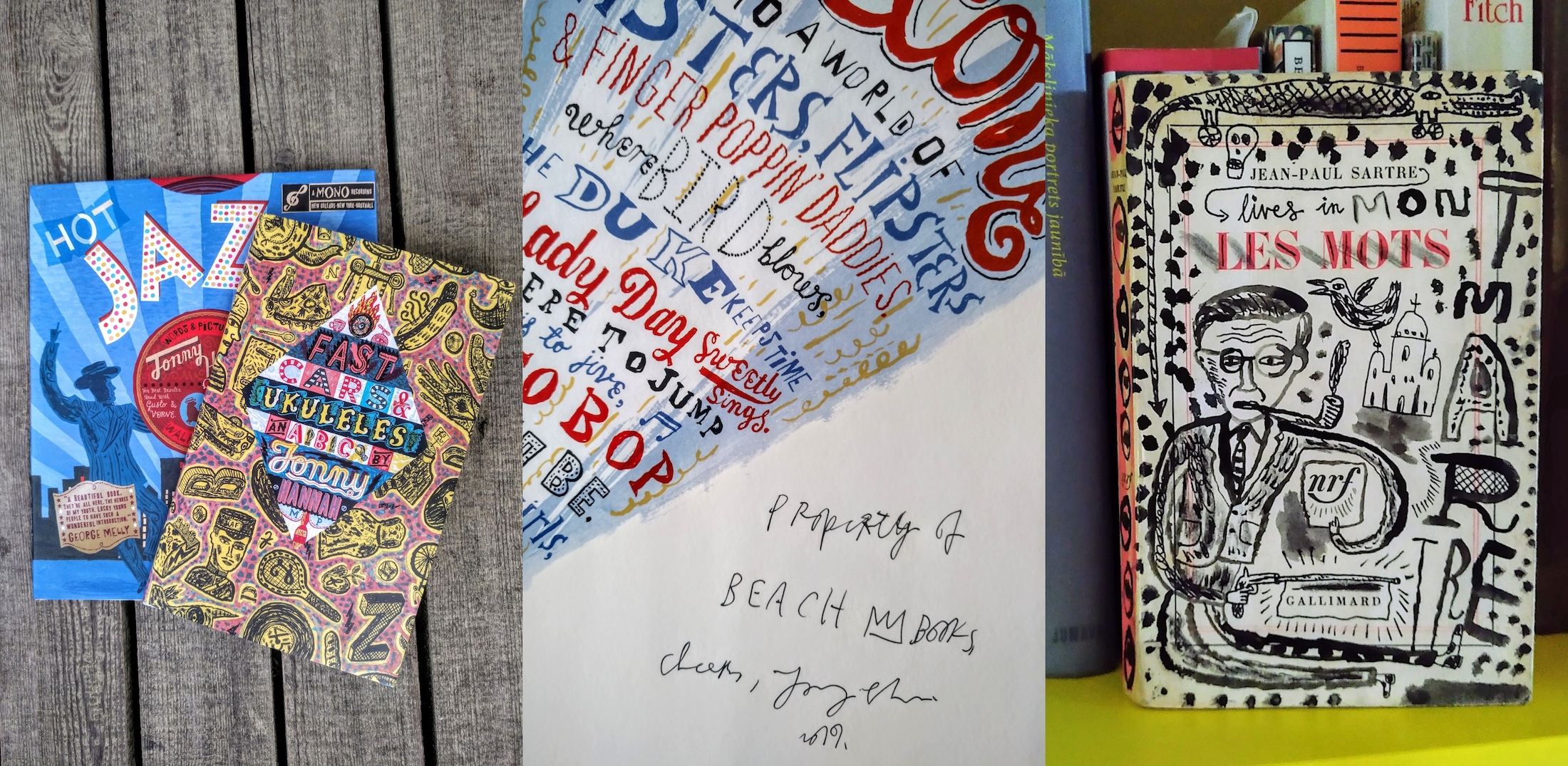 "Books written and illustrated by Jonny Hannah, available in the Sea Library, and in the third photo ""Les Mots"" by Jean Paul Sartre, its front, back and inside covers painted by Jonny Hannah as a gift to Sea Library"