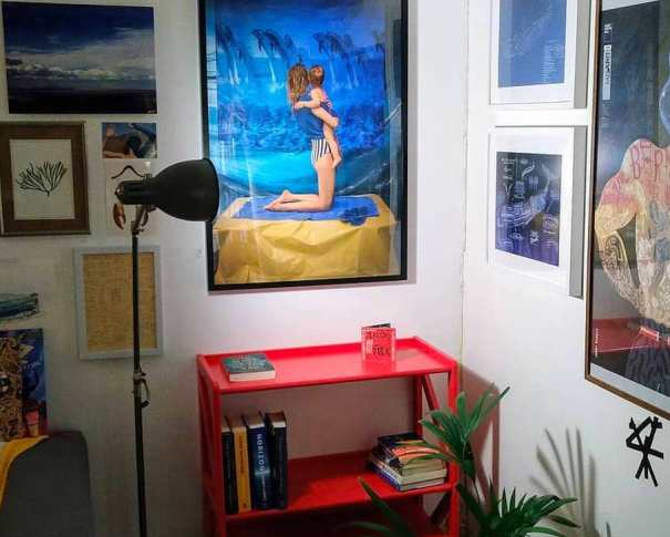 """Limited edition print """"Blue Planet"""" (2019) by Katrīna Ģelze on the wall of the Sea Library. Photo by Beach Books."""